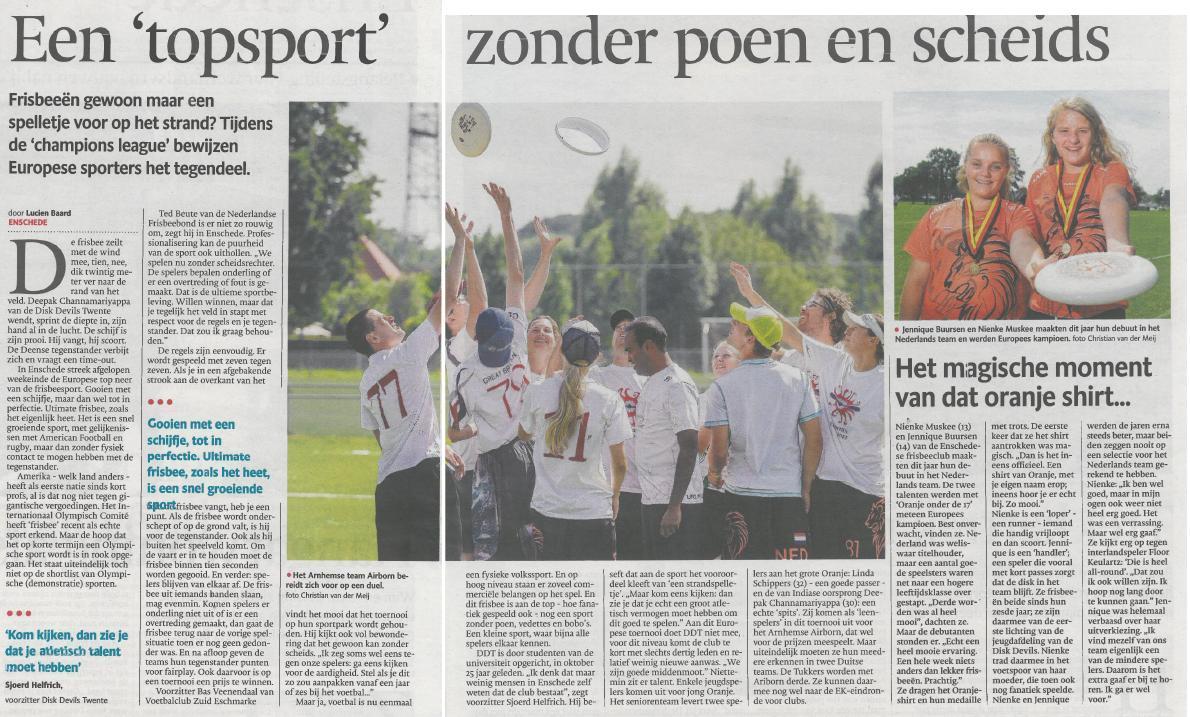 Ultimate Frisbee Enschede Dagblad Tubantia
