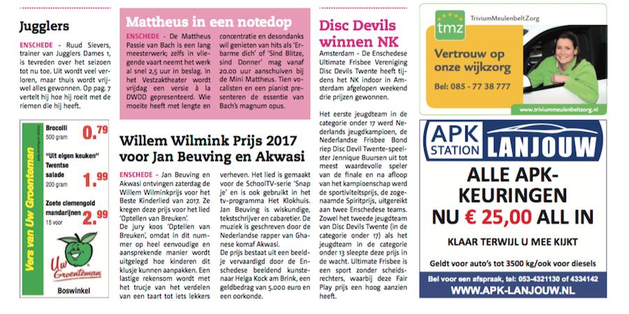 Disc Devils Twente Enschede Huis aan Huis Enschede Ultimate Frisbee